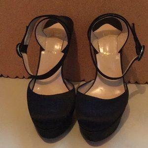 Christian Louboutin black silk platform shoe